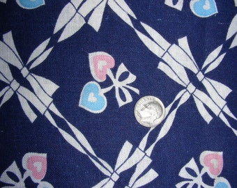 Vintage Full Feed Sack Cotton Quilting Fabric - Navy Blue Background with Small Pink & Blue Hearts tied in Bows - 36 x 44