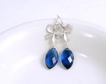 Blue Orchid Dangle Earrings, Silver Flower Dangle Earrings, Luxury Jewelry  Gifts for Her Sister Under 40