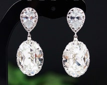 Wedding Jewelry Bridal Earrings Bridesmaid earrings Cubic zirconia ear posts with Clear White Swarovski Crystal Oval drops