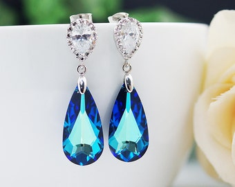 Bridal Earrings Cubic zirconia ear posts with large bermuda blue Swarovski Crystal drop earrings dangle earrings Bridesmaid Gift