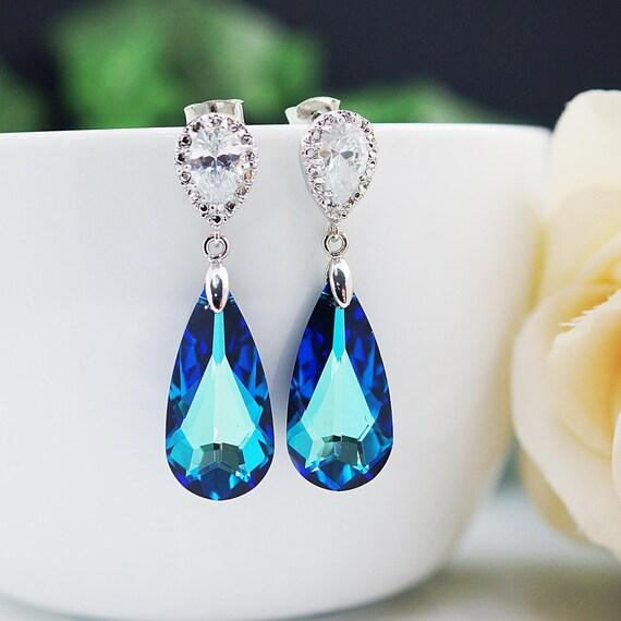 Bridal Earrings Cubic zirconia ear posts with large bermuda blue Swarovski Crystal drop earrings dangle earrings Bridesmaid Gift