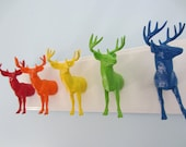 Upcycled Toy Wall Peg Rack with Rainbow Deer Clothes Hooks