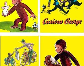 Lot Of 18 Vintage Curious George Fabric Panel Quilt Squares