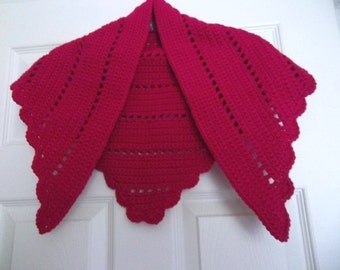 Crochet Triangle Shawl in Hot Pink