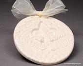 White Wedding Tag / Ornament in  White Stoneware Clay
