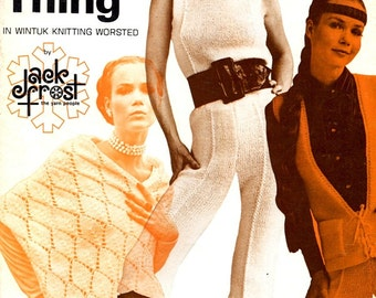 Gypsy Knit Vintage 1970s Fashions Sweater Pants Headband Shawl Dress Blouse Skirt Poncho Adult Women Sizes Craft Pattern Leaflet Volume 81