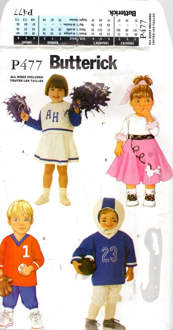 Cheerleader Poodle Skirt Baseball Football Player Toddler Halloween Costume Sewing Pattern Sizes Child 1 2 3 4 Butterick P477