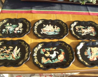 """SALE Set of 6 Handpainted Mini Trays 9 1/4"""" by 7"""" Was 10.00"""