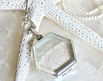 Sands of Time - Shake Necklace - Sterling Silver and Sand - Beach Wedding/Vacation Keepsake - Large Pendant - THE ORIGINAL