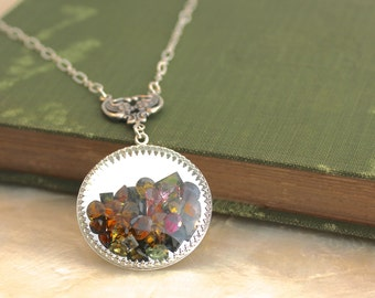 ONE OF A KIND Sands of Time - Shake Necklace - Sterling Silver and Faceted Tourmaline - Extra Large Pendant - Ready to Ship