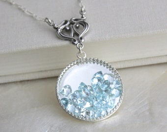 One of a Kind Art Nouveau Style Sands of Time Shake Necklace of Sterling Silver and Faceted Aquamarine - Extra Large Pendant Ready to Ship