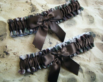 Camo Camouflage Brown Satin Wedding Bridal Garter Toss Set