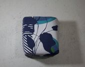 natural and blue pattern reversible fabric basket