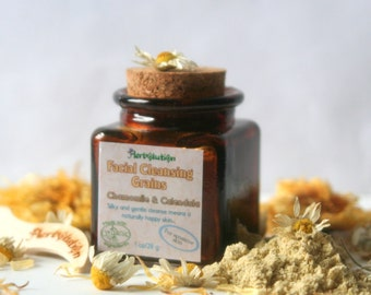 Organic Facial Cleansing Grains Chamomile Calendula. Gentle everyday wash for the most sensitive and problem skin