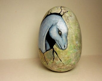 Wooden Painted Dinosaur Egg