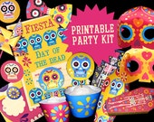 Day of the Dead or Dia de los Muertos printable party kit. Includes 15 DIY templates/patterns to print & make instantly - by Happythought.