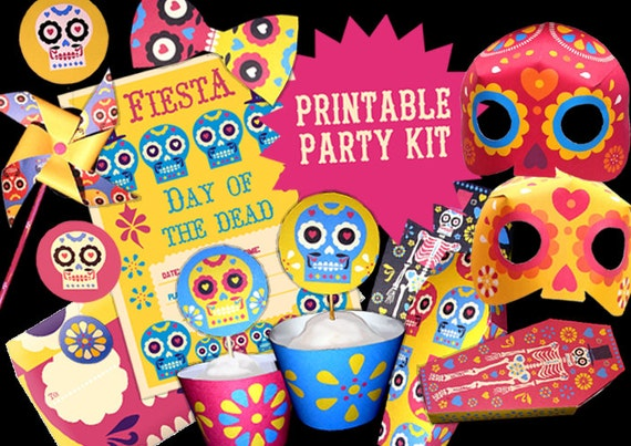 day of the dead or dia de los muertos printable party kit includes 15 diy templatespatterns to print make instantly by happythought