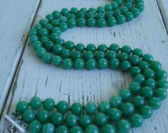 Vintage 1960's Three-Strand Green Jade Glass Beaded Necklace Japan Cherry Brand Statement