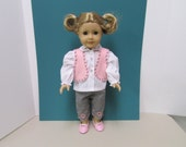 American Girl Dolls  Just Too Cute ...4 Piece Outfit ( Blouse, Pants,Vest and Shoes).