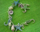 Summer on Your Wrist - Ocean Charm Bracelet - Nautical Jewelry