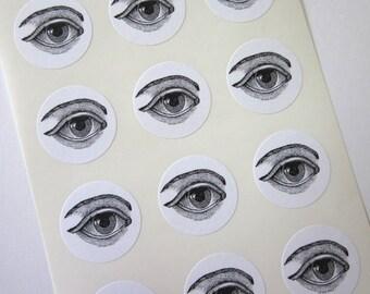 Eye Stickers One Inch Round Seals