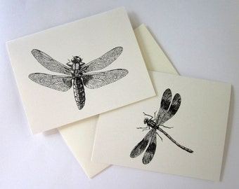 Dragonfly Card Set of 10 in White or Light Ivory with Matching Envelopes