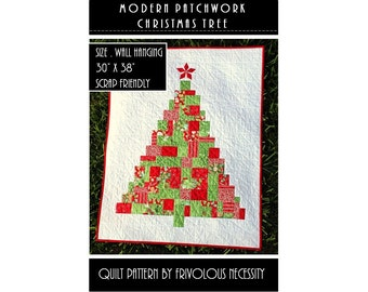 Quilt Pattern PDF Modern Patchwork Christmas Tree Applique Wall Hanging -- Scrap Friendly