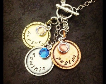 Hand Stamped Jewelry- Hand Stamped Necklace-Custom Jewelry- disc and names- birthstones- toggle clasp- family jewelry