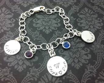 "hand stamped jewelry- personalized jewelry- charm bracelet-spinning charms- family- names and birthstones- ""established in"" jewelry"