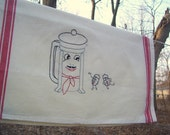 French press and dancing coffee beans tea towel- hand stitched