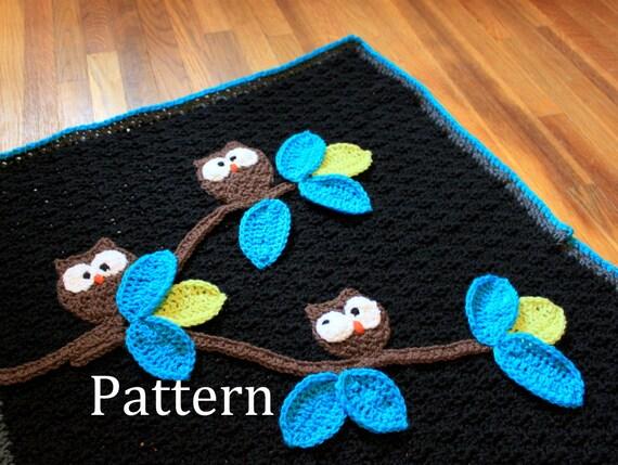 Crochet Blanket Pattern Owl Baby Blanket Pattern Instant