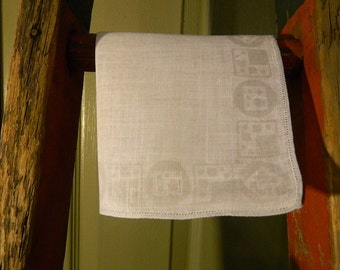 """Vintage Hankie/Hanky Linen Pale Gray Geometric Shapes and Dots:""""Circle Squared"""""""