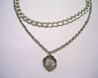 Smokey Gray charm on a double chain Silver Necklace