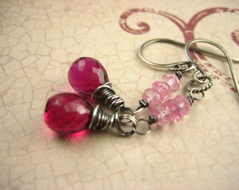 Rasberry Rubilite Quartz Gemstone Drop Sterling Silver Earrings Wire Wrapped Dangle Hot Pink Gray Oxidized Antique finish