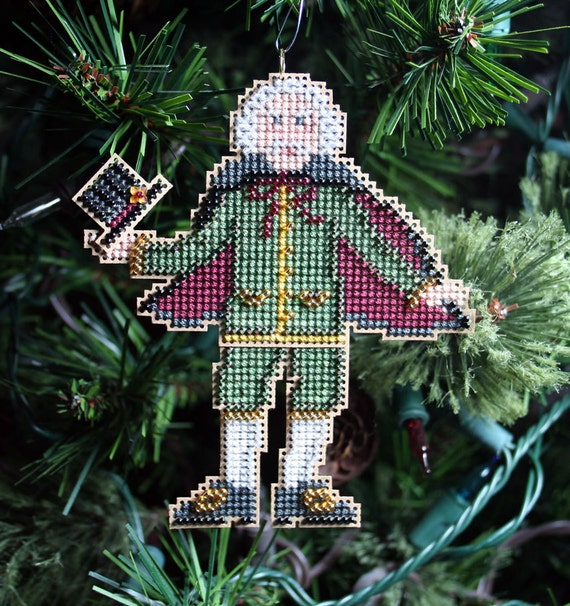 Herr Drosselmeyer Cross Stitched and Beaded Holiday Christmas Tree Ornament - Free Shipping