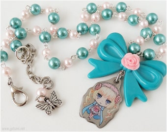 Karneval Tsukumo Necklace, Pastel Pink and Teal, Oversized Bow - Sweet Lolita, Anime Jewelry