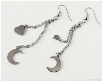Crescent Moon Earrings with Star and Heart charms, Long Stainless Steel Chain, Surgical Steel Hooks - Fairy Kei