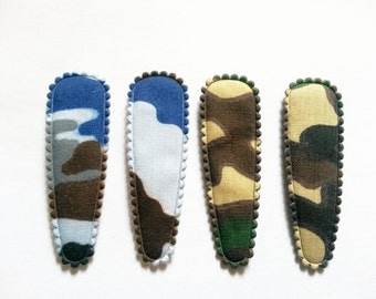 25 pcs  Army Camouflage soldier  Hair Clip COVERS -  size 55 mm Mix color