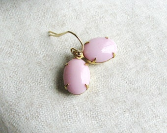 Pink Glass Jewel Earrings Vintage Gems Oval Gold Filled Estate Style Minimalist Modern Bridal Jewelry Sparkly