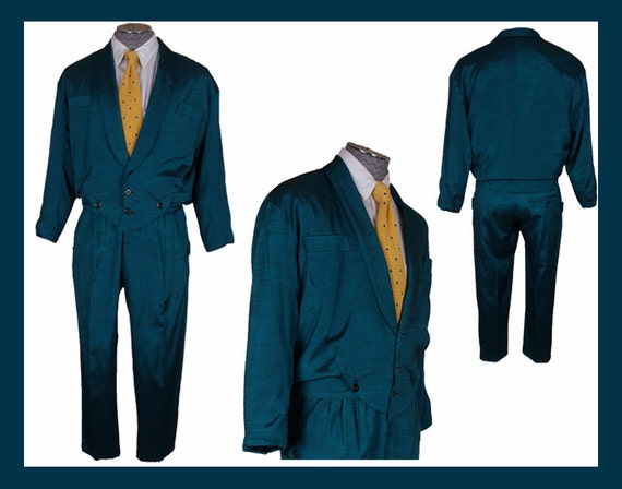 new wave style 80s fashion blue suit mens size small. Black Bedroom Furniture Sets. Home Design Ideas