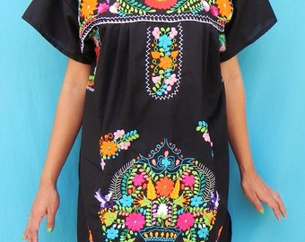 Mexican Black Tunic Handmade Embroidered  Bohemian Mini Dress M
