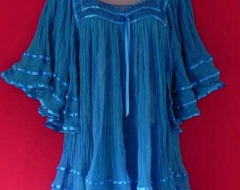 Mexican Blouse Blue Color Fantastic Very Comfortable Spring / Summer Collection Handmade Medium / Large