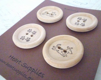 Wooden Buttons - Stamped Dog Footprint Collection - 30mm
