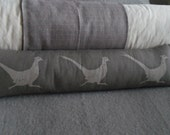 Hand printed muted grey  triple pheasant bolster/excluder