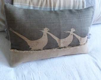 hand printed rustic charcoal triple pheasant cushion cover