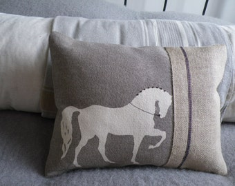 hand printed mink dressage horse cushion