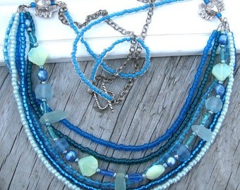 Ocean View..Ocean Theme Sterling Silver Multi-Strand Necklace