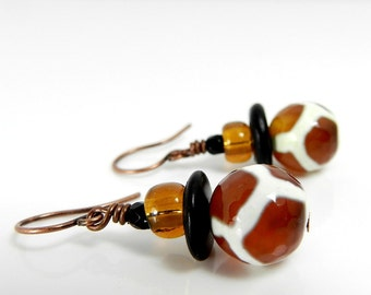 African Jewelry Tribal Style Earrings Black & Amber Giraffe Exotic Animal Earrings Tibetan Dzi Bead Brown Earrings