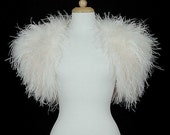 OPULENT OSTRICH FEATHER Wrap Shrug Jacket Bolero Cape  - New Arrival - Available in Ivory or Black