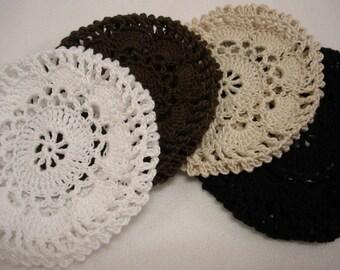 Black, Brown, Natural, White Hair Net / Bun Cover Crocheted flower style Set of 4